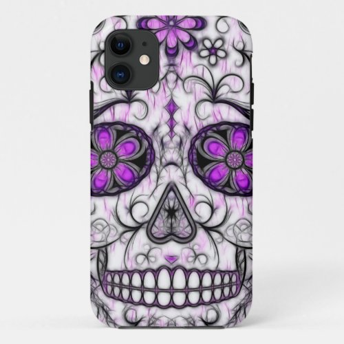 Day of the Dead Sugar Skull - Pink & Purple 1.0 Phone Case
