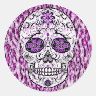 Day of the Dead Sugar Skull - Pink & Purple 1.0 Classic Round Sticker