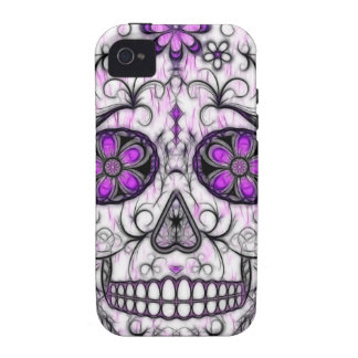 Day of the Dead Sugar Skull - Pink & Purple 1.0 iPhone 4 Cases