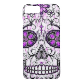 Day of the Dead Sugar Skull - Pink & Purple 1.0 iPhone 8/7 Case