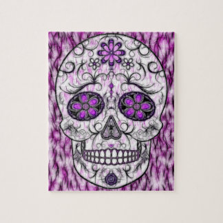 Day of the Dead Sugar Skull - Pink & Purple 1.0 Jigsaw Puzzle