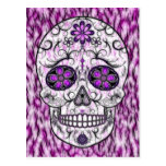 Day of the Dead Sugar Skull - Pink & Purple 1.0 Postcard