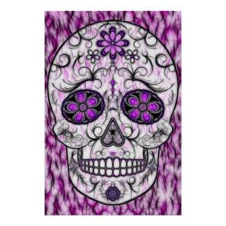 Day of the Dead Sugar Skull - Pink & Purple 1.0 Poster