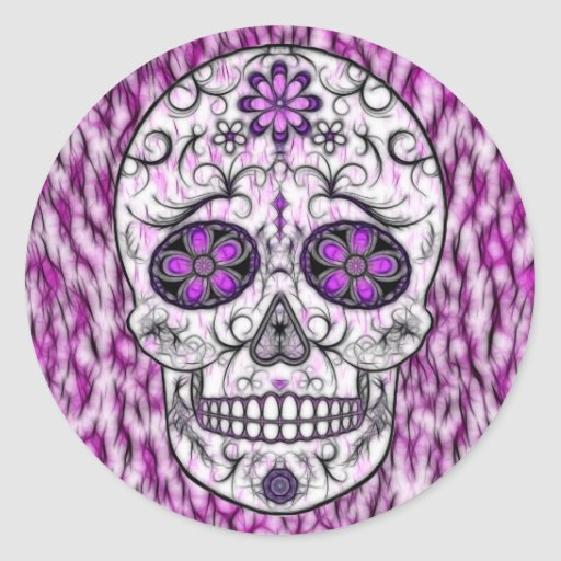 Day of the Dead Sugar Skull - Pink & Purple 1.0 Round Stickers