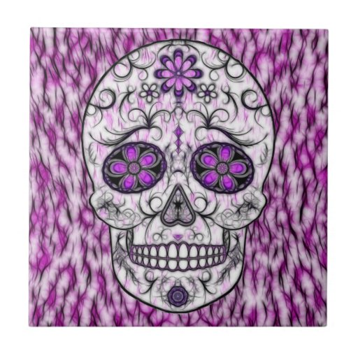 Day of the Dead Sugar Skull - Pink & Purple 1.0 Tiles