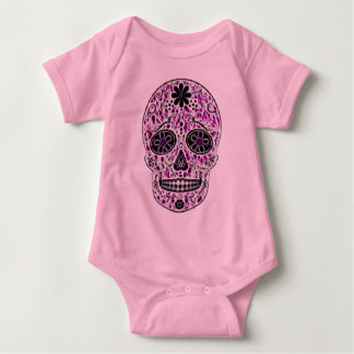 Day of the Dead Sugar Skull - Pink & Purple 2.0 Baby Bodysuit