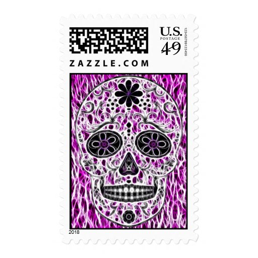 Day of the Dead Sugar Skull - Pink & Purple 2.0 Postage Stamps