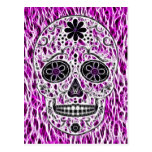 Day of the Dead Sugar Skull - Pink & Purple 2.0 Post Card