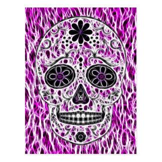 Day of the Dead Sugar Skull - Pink & Purple 2.0 Postcard