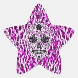 Day of the Dead Sugar Skull - Pink & Purple 2.0 Star Sticker