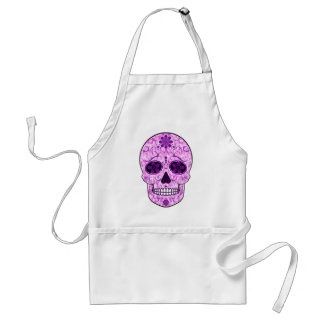 Day of the Dead Sugar Skull - Pink & Purple Adult Apron