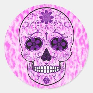 Day of the Dead Sugar Skull - Pink & Purple Classic Round Sticker