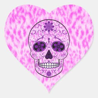 Day of the Dead Sugar Skull - Pink & Purple Heart Sticker