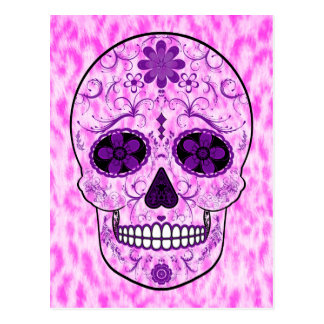 Day of the Dead Sugar Skull - Pink & Purple Postcard