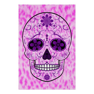 Day of the Dead Sugar Skull - Pink & Purple Poster