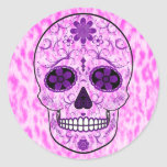 Day of the Dead Sugar Skull - Pink & Purple Classic Round Sticker