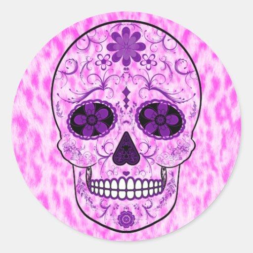 Day of the Dead Sugar Skull - Pink & Purple Sticker