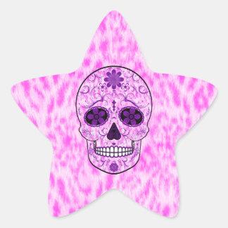 Day of the Dead Sugar Skull - Pink & Purple Star Sticker