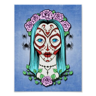 Halloween Themed Day Of The Dead Sugar Skull Poster