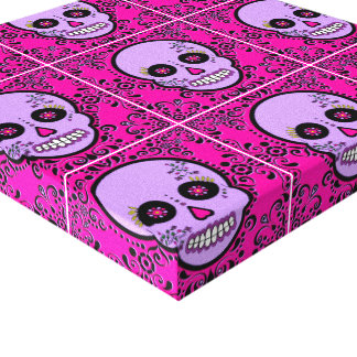 Day of the Dead Sugar Skull - Purple and Pink Canvas Print