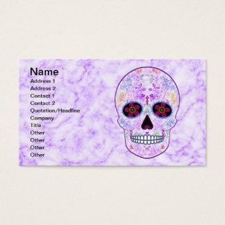 Day of the Dead Sugar Skull - Purple & Multi Color Business Card