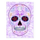 Day of the Dead Sugar Skull - Purple & Multi Color Postcard