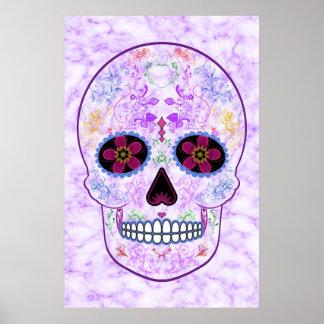 Day of the Dead Sugar Skull - Purple & Multi Color Poster