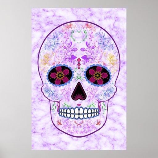day of the dead sugar skull purple multi color poster zazzle. Black Bedroom Furniture Sets. Home Design Ideas
