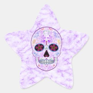 Day of the Dead Sugar Skull - Purple & Multi Color Star Sticker