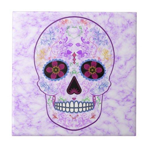 Day of the Dead Sugar Skull - Purple & Multi Color Ceramic Tile