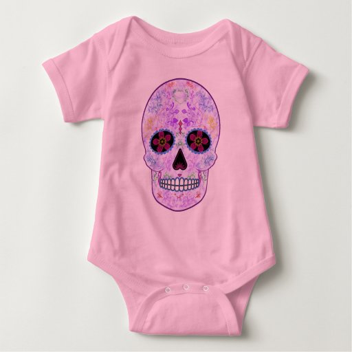 Day of the Dead Sugar Skull - Purple & Multi Color Infant Creeper