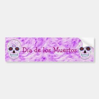 Day of the Dead Sugar Skull-Purple & Multi Fractal Bumper Sticker