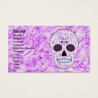 Day of the Dead Sugar Skull-Purple & Multi Fractal Business Card