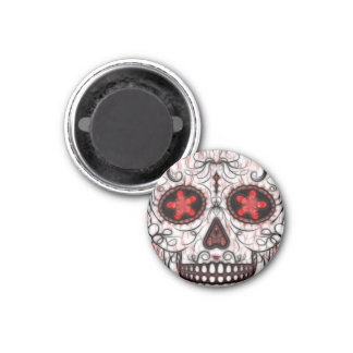 Day of the Dead Sugar Skull - Red & Black Fractal 1 Inch Round Magnet