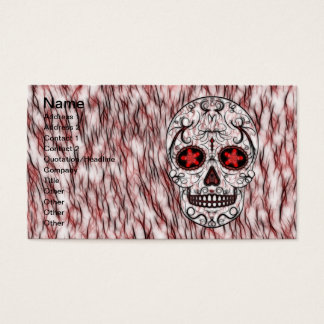 Day of the Dead Sugar Skull - Red & Black Fractal Business Card