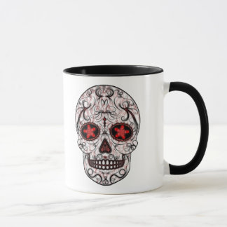 Day of the Dead Sugar Skull - Red & Black Fractal Mug