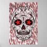 Day of the Dead Sugar Skull - Red & Black Fractal Print