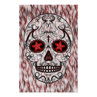 Day of the Dead Sugar Skull - Red & Black Fractal Poster