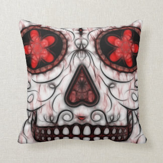 Day of the Dead Sugar Skull - Red & Black Fractal Throw Pillow