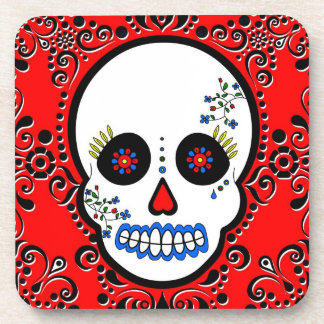 Day of the Dead Sugar Skull - Red/ White / Black Beverage Coaster