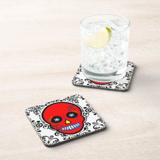 Day of the Dead Sugar Skull - Red / White / Black Coaster