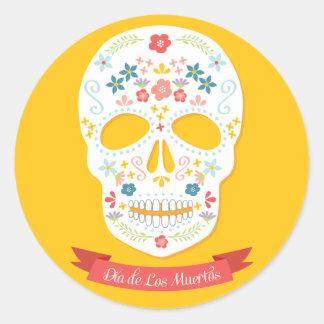 Day of the Dead Sugar Skull stickers, yellow Classic Round Sticker