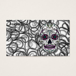 Day of the Dead Sugar Skull - Swirly Multi Color Business Card