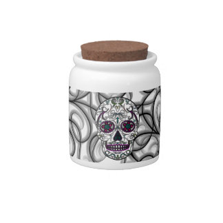 Day of the Dead Sugar Skull - Swirly Multi Color Candy Dishes