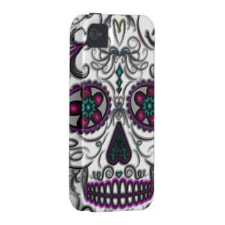 Day of the Dead Sugar Skull - Swirly Multi Color Vibe iPhone 4 Case