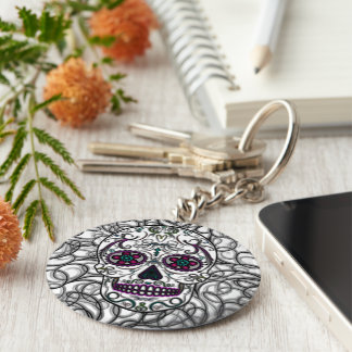 Day of the Dead Sugar Skull - Swirly Multi Color Keychains