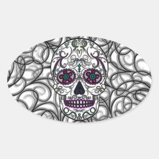Day of the Dead Sugar Skull - Swirly Multi Color Oval Sticker