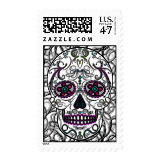 Day of the Dead Sugar Skull - Swirly Multi Color Postage