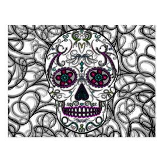 Day of the Dead Sugar Skull - Swirly Multi Color Postcard