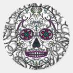 Day of the Dead Sugar Skull - Swirly Multi Color Round Sticker